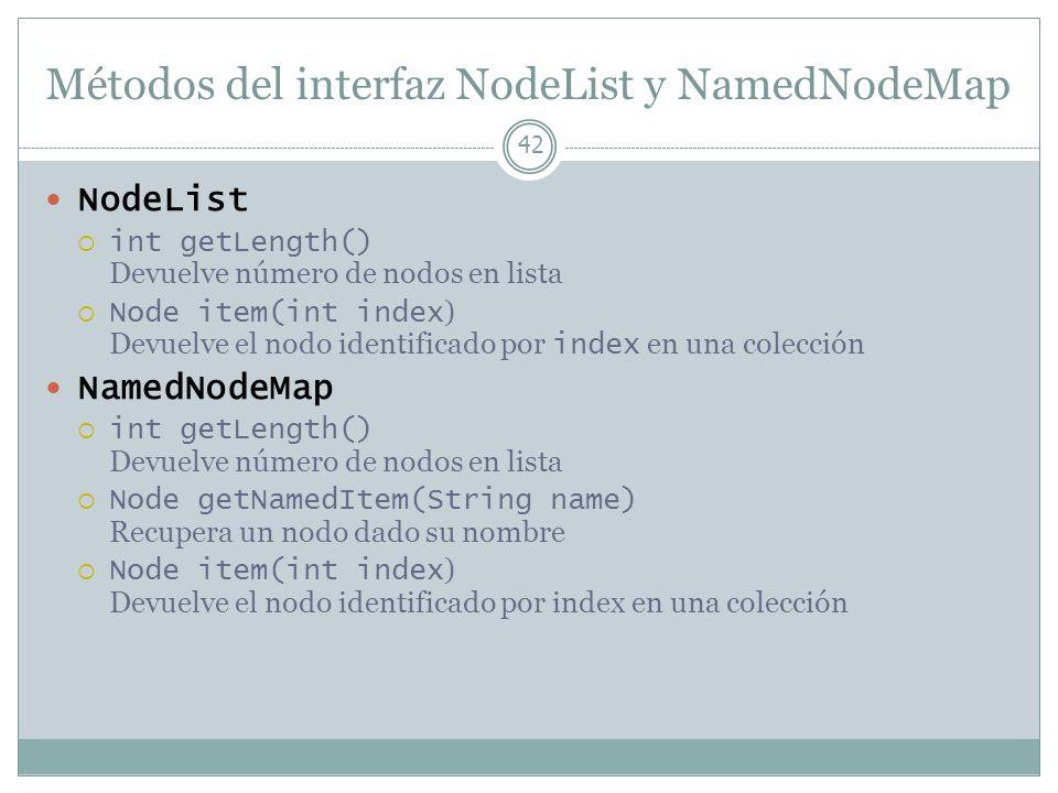 Métodos del interfaz NodeList y NamedNodeMap 42 NodeList int getLength() Devuelve número de nodos en lista Node item(int index ) Devuelve el nodo iden