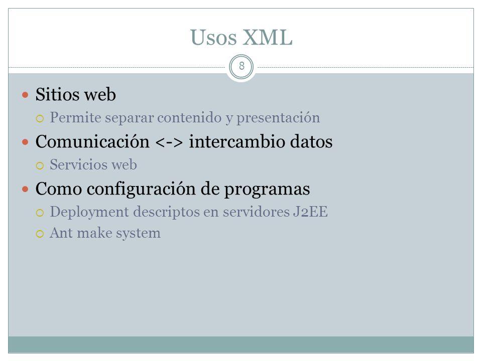 Usos XML 8 Sitios web Permite separar contenido y presentación Comunicación intercambio datos Servicios web Como configuración de programas Deployment