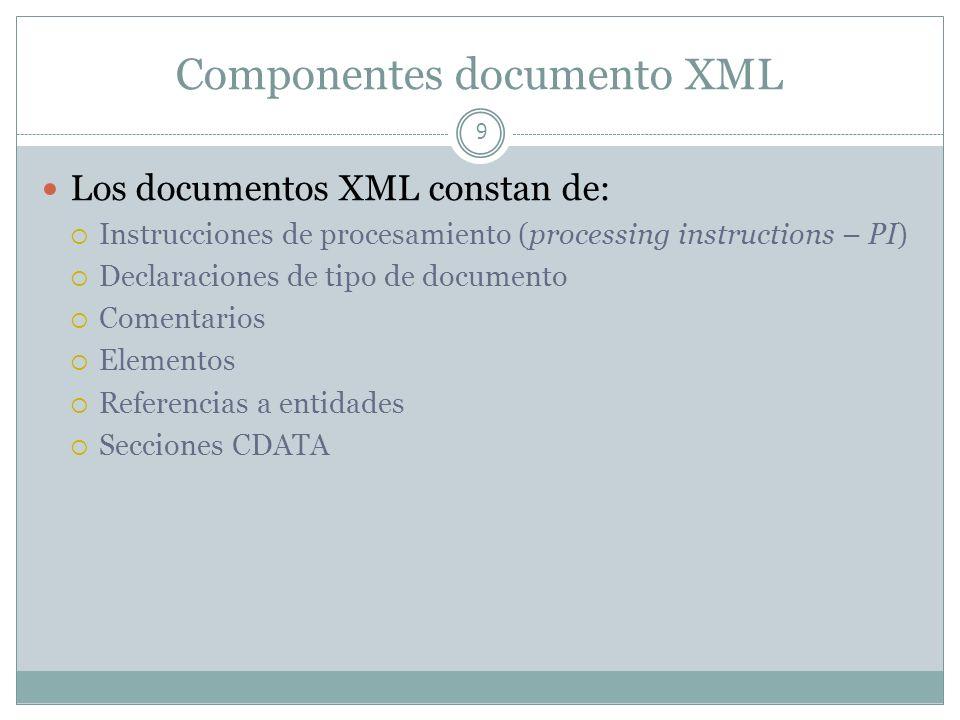 Componentes documento XML 9 Los documentos XML constan de: Instrucciones de procesamiento (processing instructions – PI) Declaraciones de tipo de docu