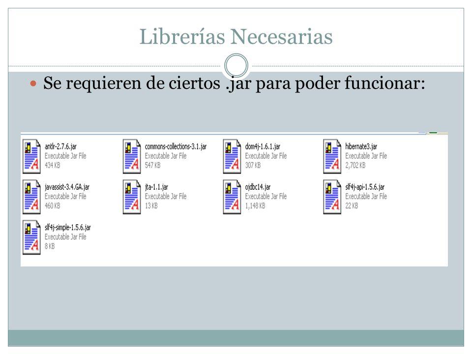 Librerías Necesarias Se requieren de ciertos.jar para poder funcionar: