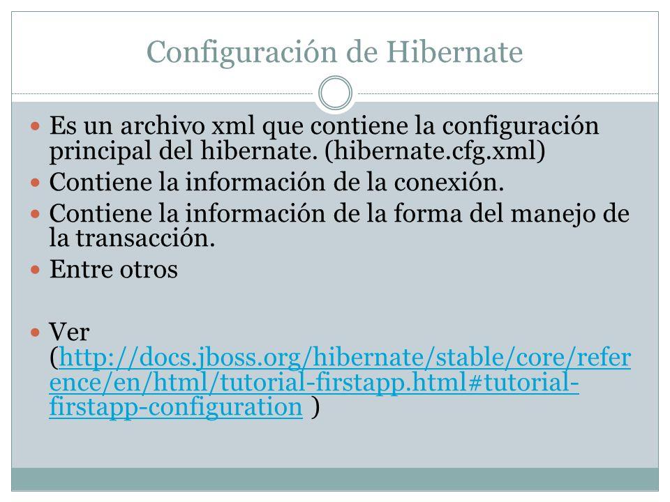 Configuración de Hibernate Es un archivo xml que contiene la configuración principal del hibernate. (hibernate.cfg.xml) Contiene la información de la