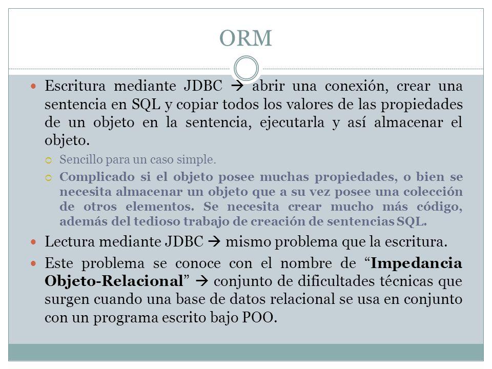 ORM Escritura mediante JDBC abrir una conexión, crear una sentencia en SQL y copiar todos los valores de las propiedades de un objeto en la sentencia,