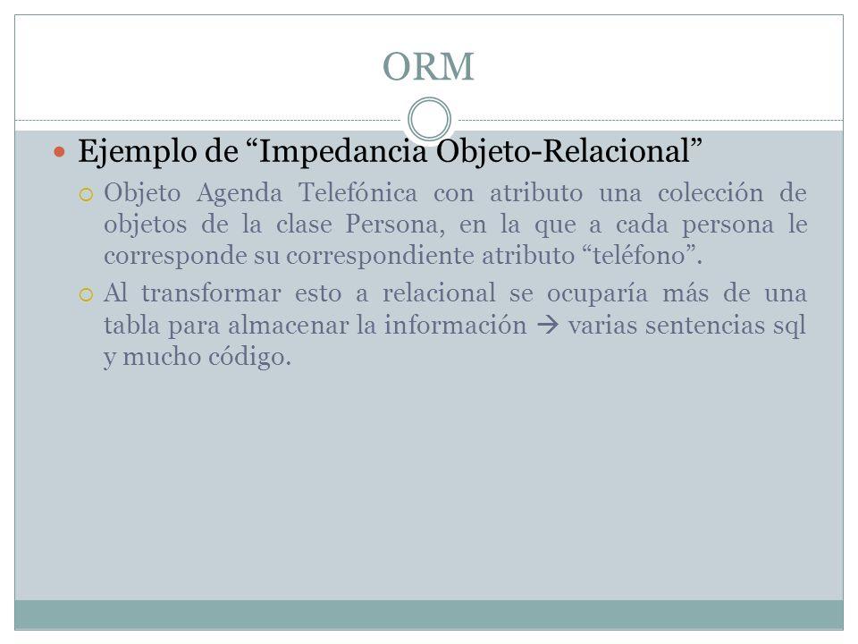 ORM Ejemplo de Impedancia Objeto-Relacional Objeto Agenda Telefónica con atributo una colección de objetos de la clase Persona, en la que a cada perso