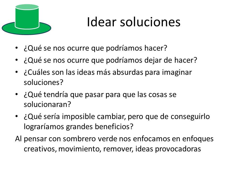 Idear soluciones ¿Qué se nos ocurre que podríamos hacer? ¿Qué se nos ocurre que podríamos dejar de hacer? ¿Cuáles son las ideas más absurdas para imag
