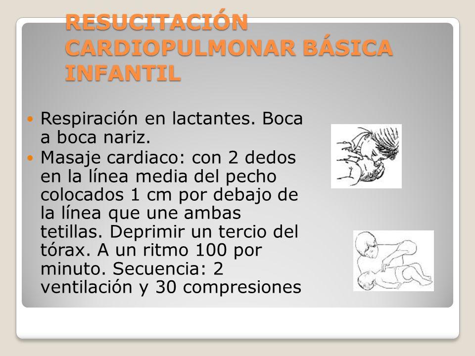 RESUCITACIÓN CARDIOPULMONAR BÁSICA INFANTIL Respiración en lactantes. Boca a boca nariz. Masaje cardiaco: con 2 dedos en la línea media del pecho colo