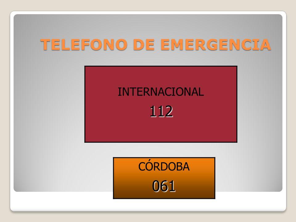 TELEFONO DE EMERGENCIA INTERNACIONAL112 CÓRDOBA061