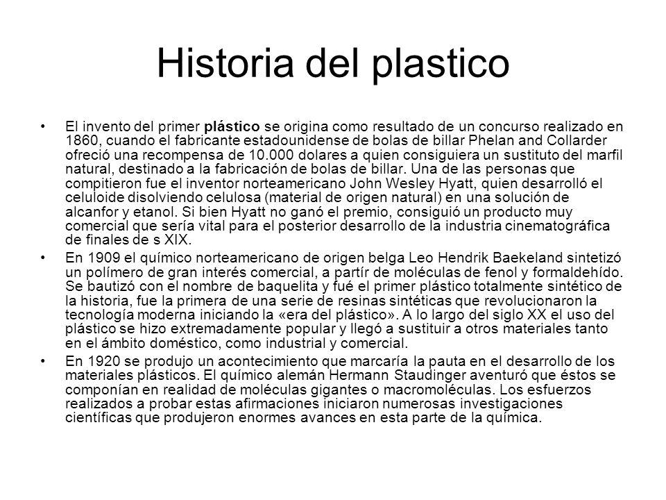 Historia del plastico El invento del primer plástico se origina como resultado de un concurso realizado en 1860, cuando el fabricante estadounidense d
