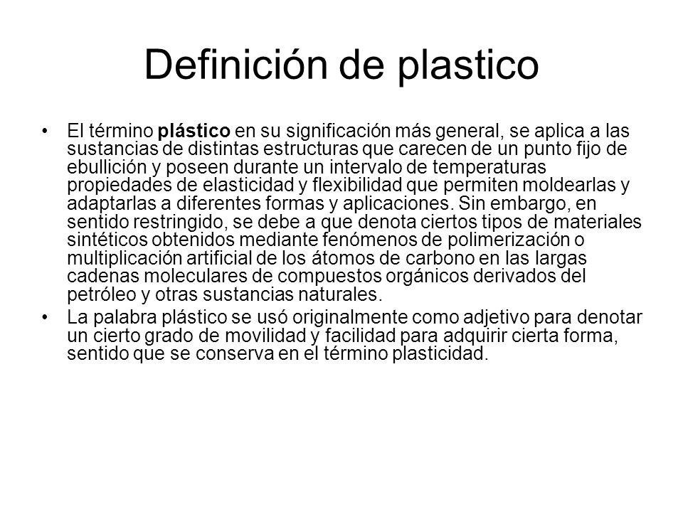 Definición de plastico El término plástico en su significación más general, se aplica a las sustancias de distintas estructuras que carecen de un punt