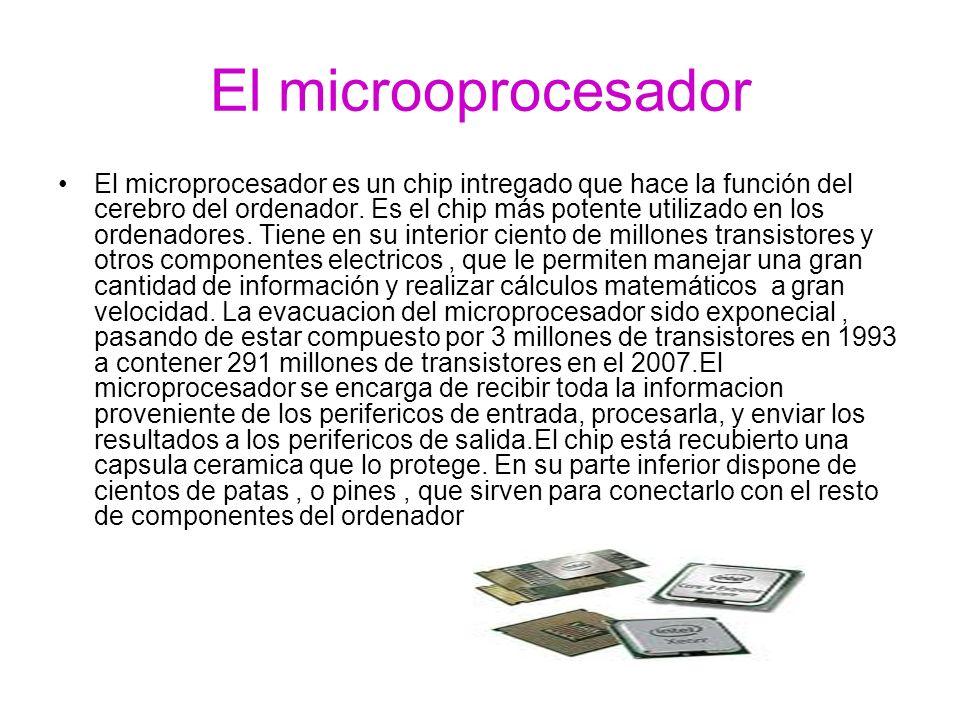 El microoprocesador El microprocesador es un chip intregado que hace la función del cerebro del ordenador. Es el chip más potente utilizado en los ord