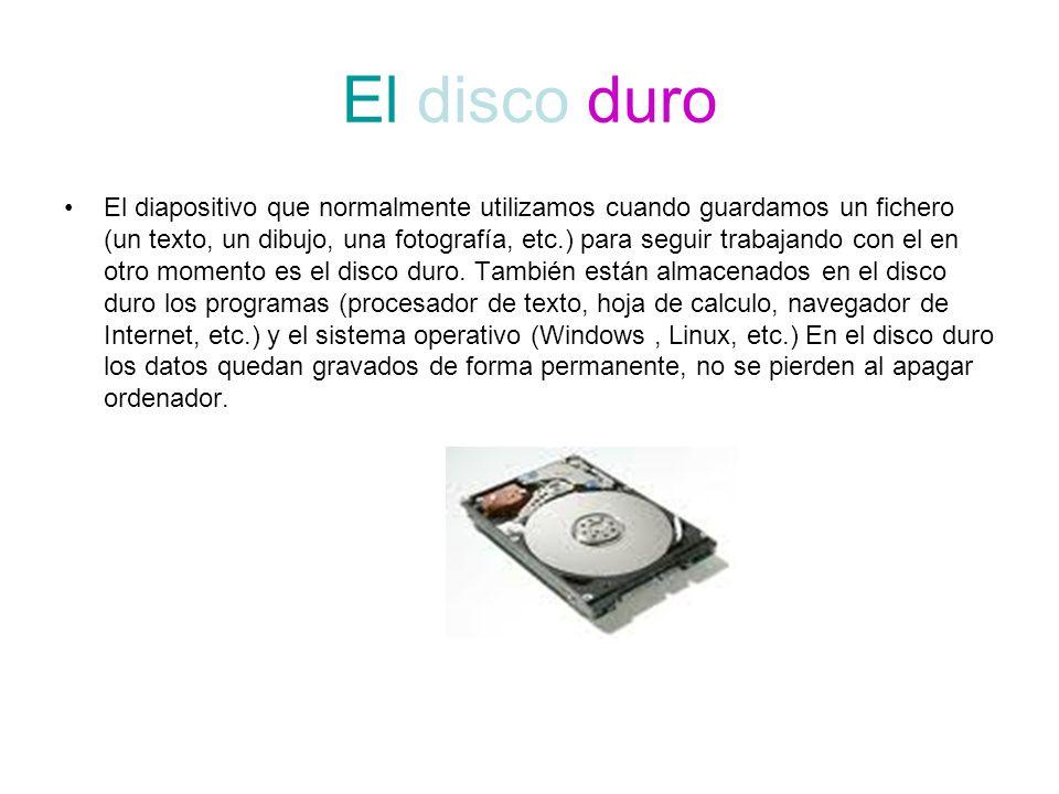 El disco duro El diapositivo que normalmente utilizamos cuando guardamos un fichero (un texto, un dibujo, una fotografía, etc.) para seguir trabajando