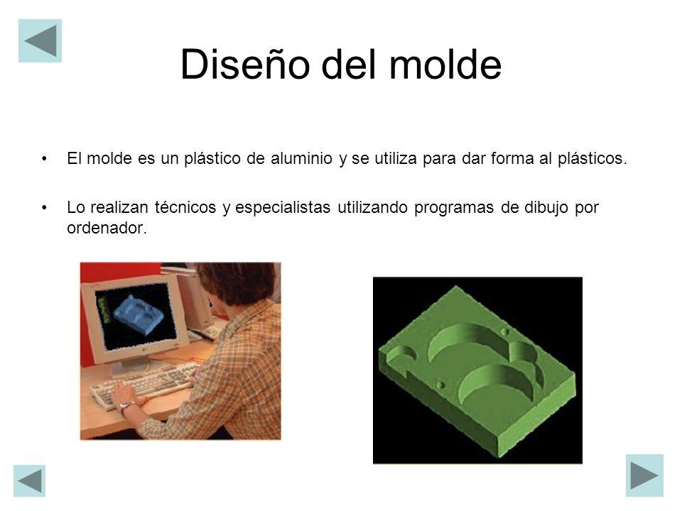 Diseño del molde El molde es un plástico de aluminio y se utiliza para dar forma al plásticos. Lo realizan técnicos y especialistas utilizando program