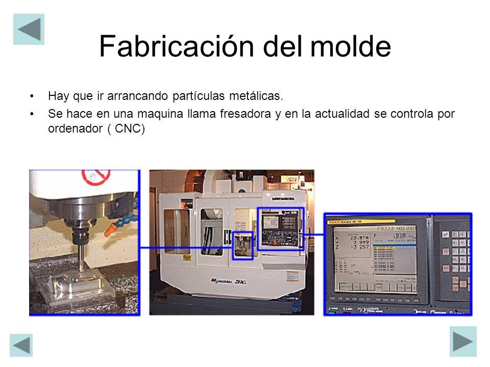 Fabricación del molde Hay que ir arrancando partículas metálicas. Se hace en una maquina llama fresadora y en la actualidad se controla por ordenador