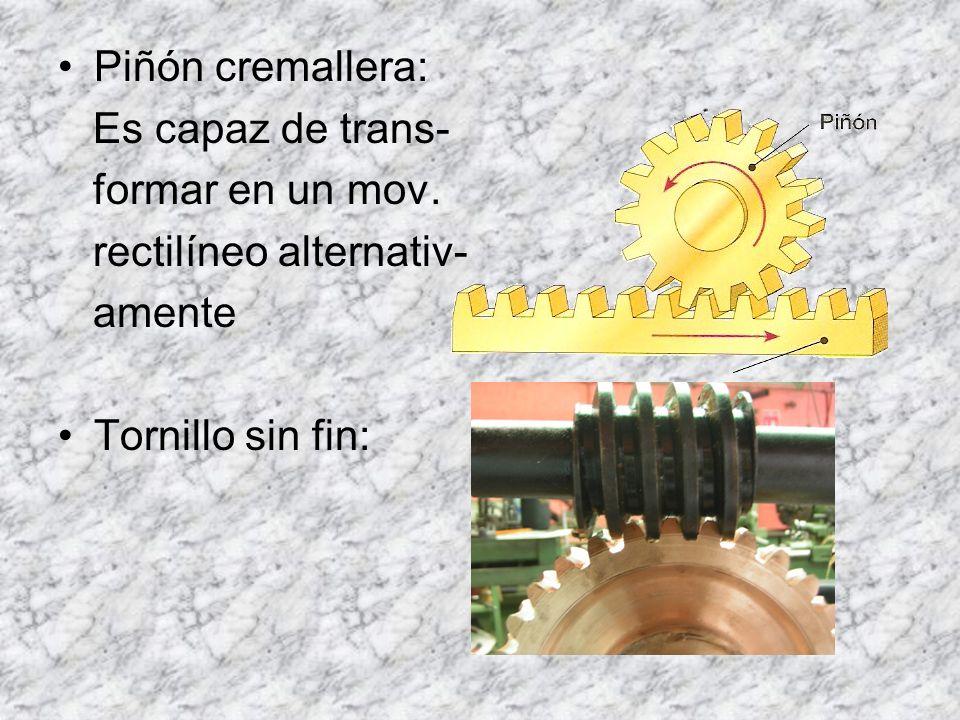 Piñón cremallera: Es capaz de trans- formar en un mov. rectilíneo alternativ- amente Tornillo sin fin: