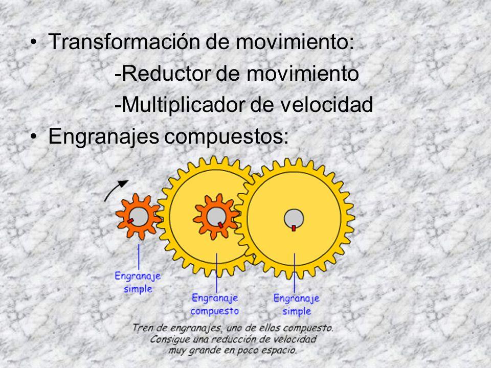 Transformación de movimiento: -Reductor de movimiento -Multiplicador de velocidad Engranajes compuestos:
