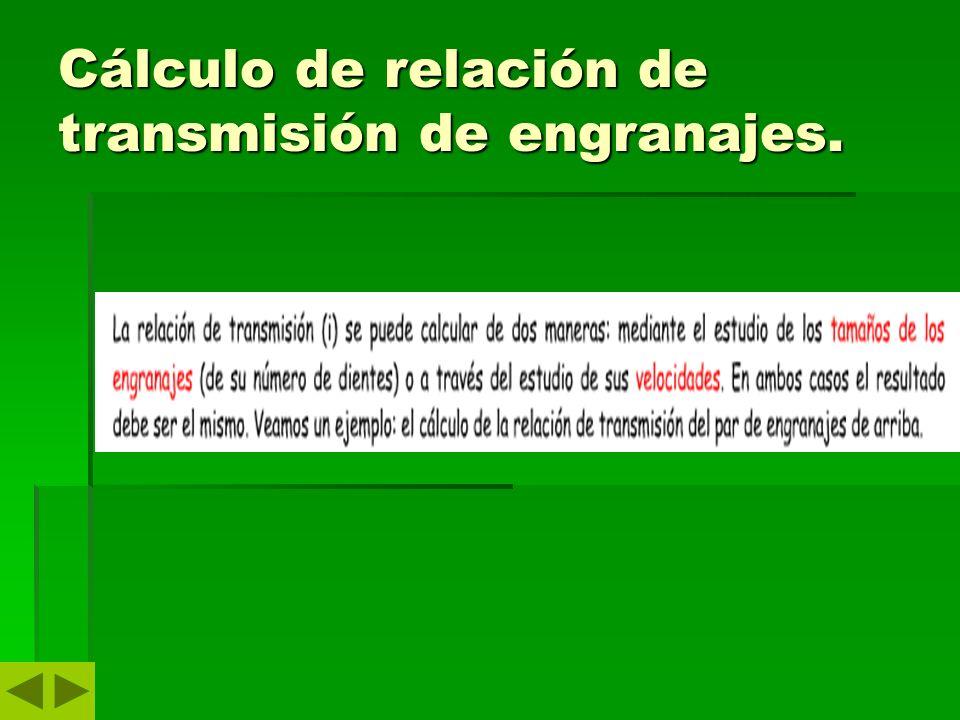 Cálculo de relación de transmisión de engranajes.