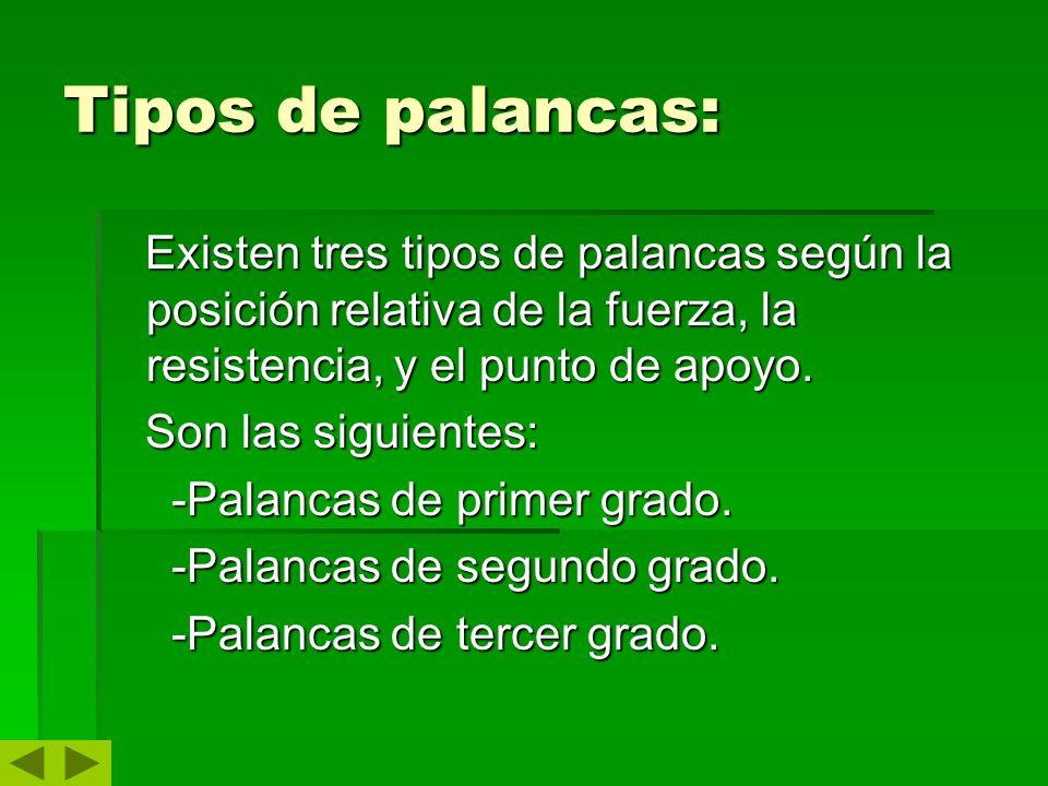 Tipos de palancas: Existen tres tipos de palancas según la posición relativa de la fuerza, la resistencia, y el punto de apoyo. Existen tres tipos de