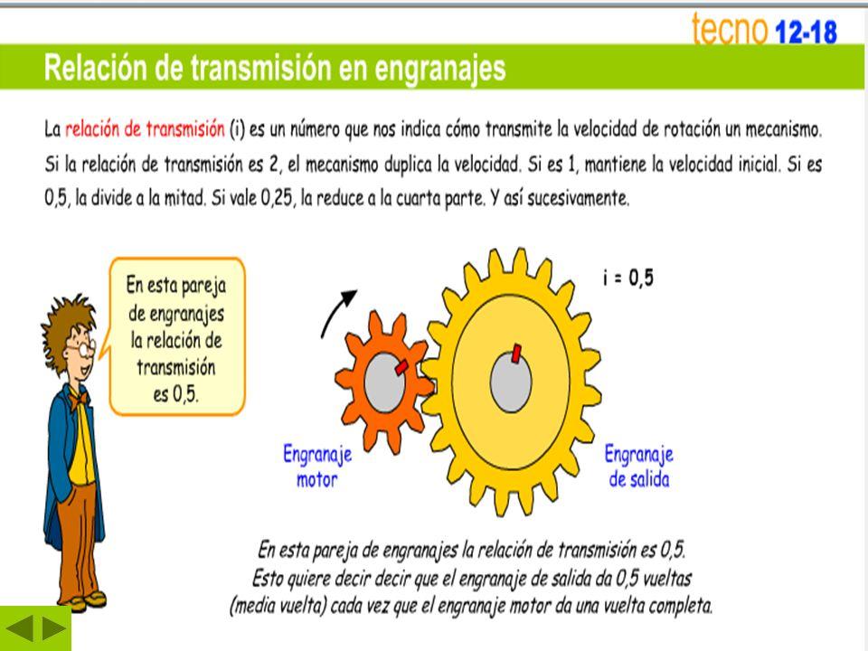 Relación de transmisión de engranajes.