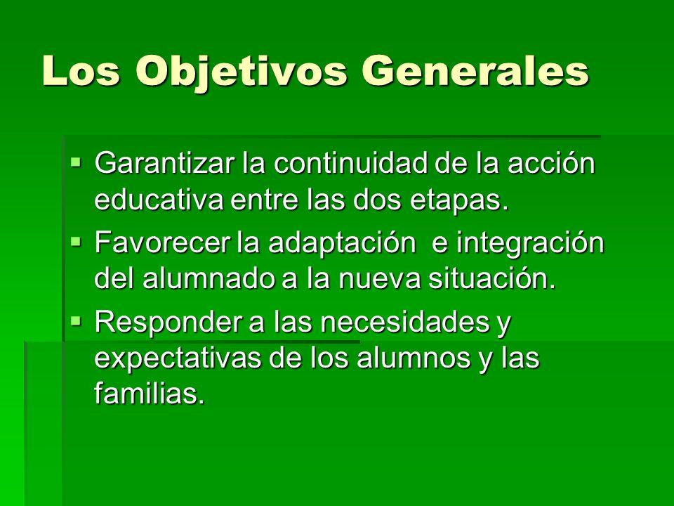 Los Objetivos Generales Garantizar la continuidad de la acción educativa entre las dos etapas. Garantizar la continuidad de la acción educativa entre