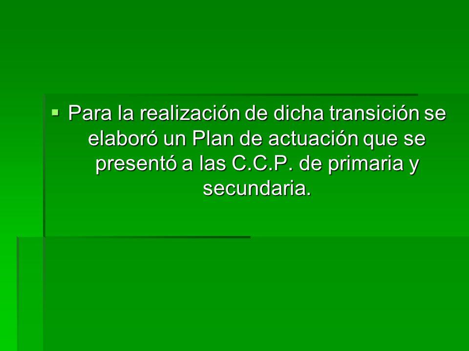 Para la realización de dicha transición se elaboró un Plan de actuación que se presentó a las C.C.P. de primaria y secundaria. Para la realización de