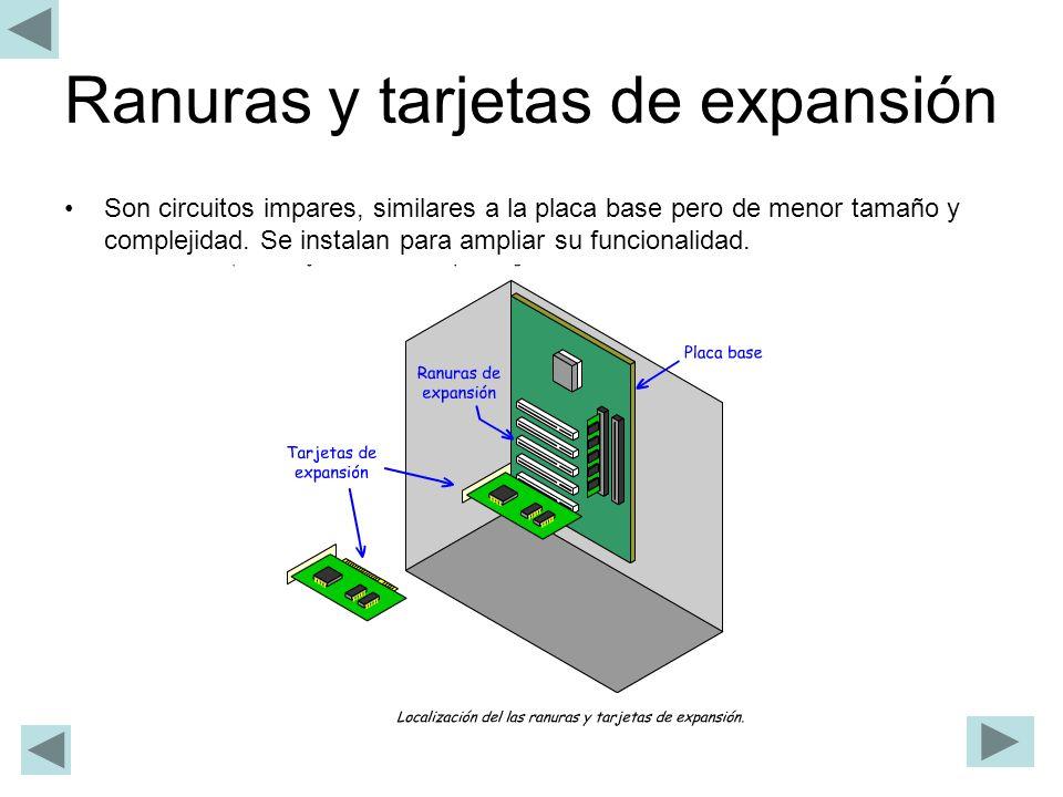 Ranuras y tarjetas de expansión Son circuitos impares, similares a la placa base pero de menor tamaño y complejidad. Se instalan para ampliar su funci