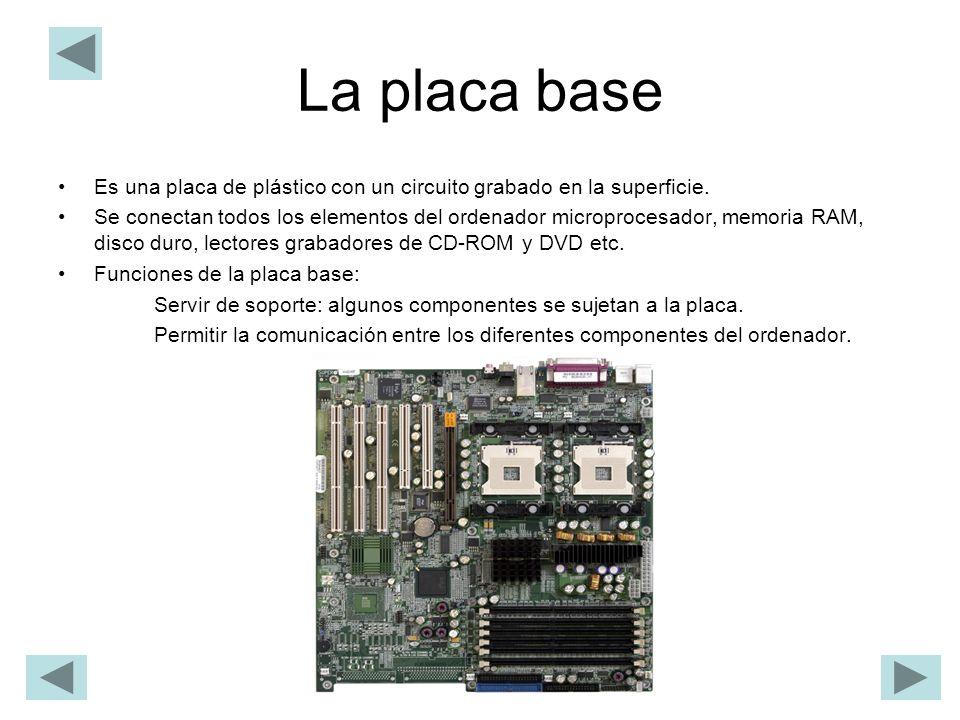 La placa base Es una placa de plástico con un circuito grabado en la superficie. Se conectan todos los elementos del ordenador microprocesador, memori