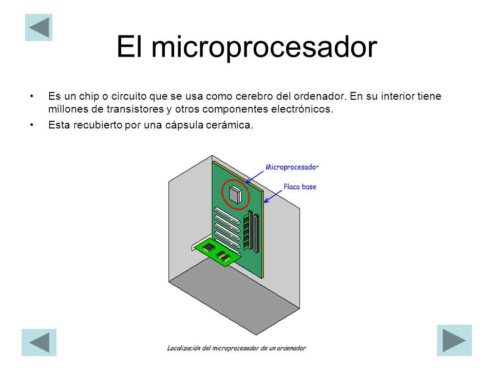 El microprocesador Es un chip o circuito que se usa como cerebro del ordenador. En su interior tiene millones de transistores y otros componentes elec