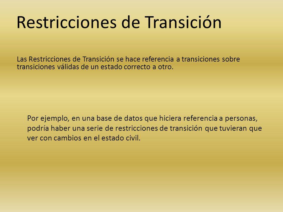 Restricciones de Transición Las Restricciones de Transición se hace referencia a transiciones sobre transiciones válidas de un estado correcto a otro.