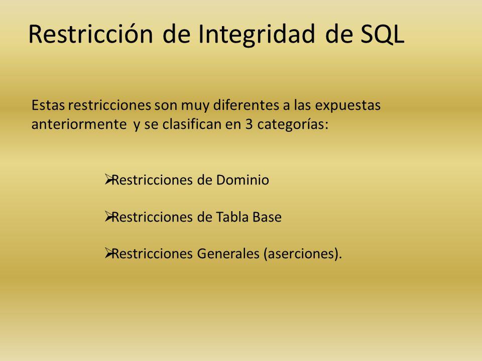 Restricción de Integridad de SQL Estas restricciones son muy diferentes a las expuestas anteriormente y se clasifican en 3 categorías: Restricciones d