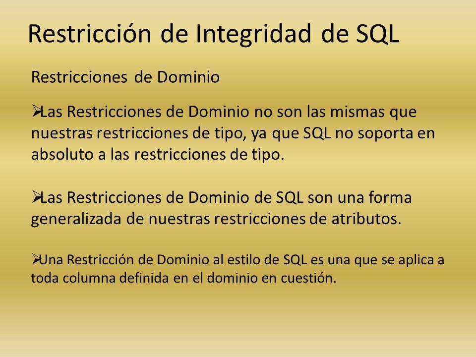 Restricción de Integridad de SQL Restricciones de Dominio Las Restricciones de Dominio no son las mismas que nuestras restricciones de tipo, ya que SQ