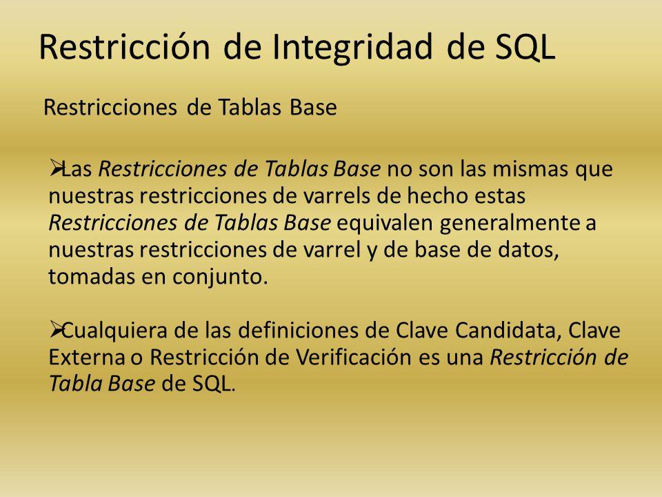 Restricción de Integridad de SQL Restricciones de Tablas Base Las Restricciones de Tablas Base no son las mismas que nuestras restricciones de varrels