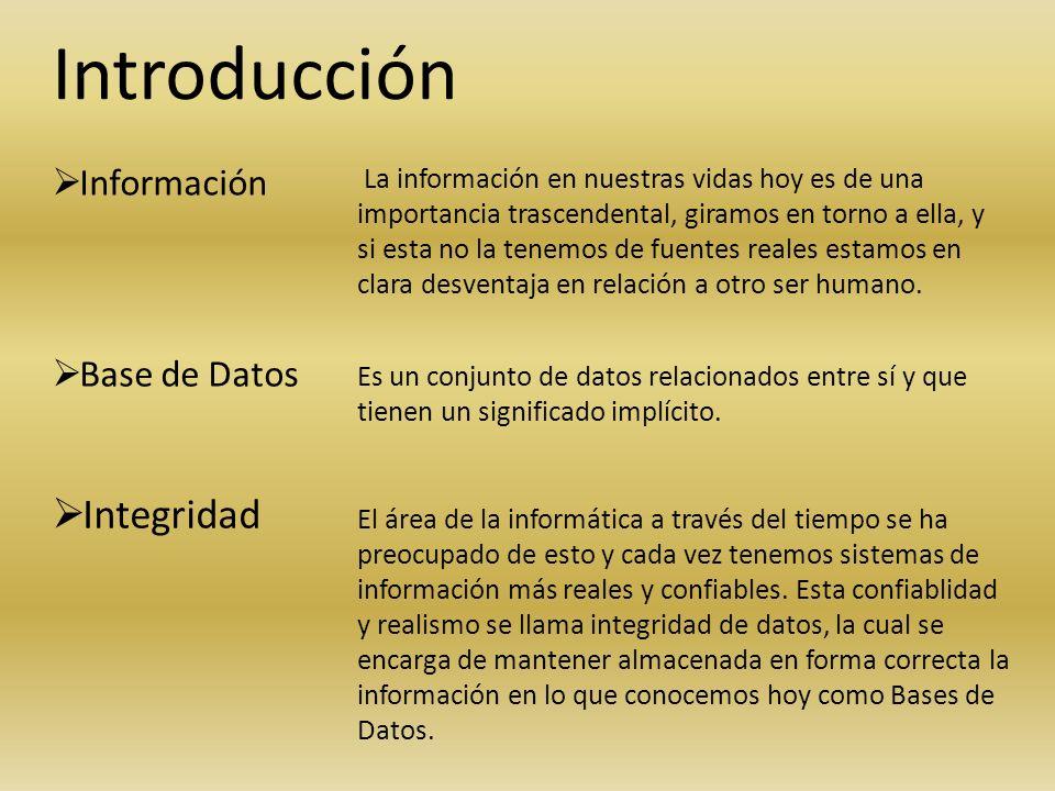 Introducción Información Base de Datos Integridad La información en nuestras vidas hoy es de una importancia trascendental, giramos en torno a ella, y