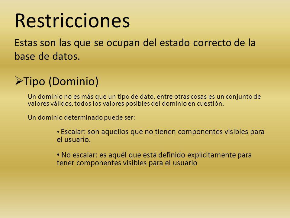 Restricciones Estas son las que se ocupan del estado correcto de la base de datos. Tipo (Dominio) Un dominio no es más que un tipo de dato, entre otra