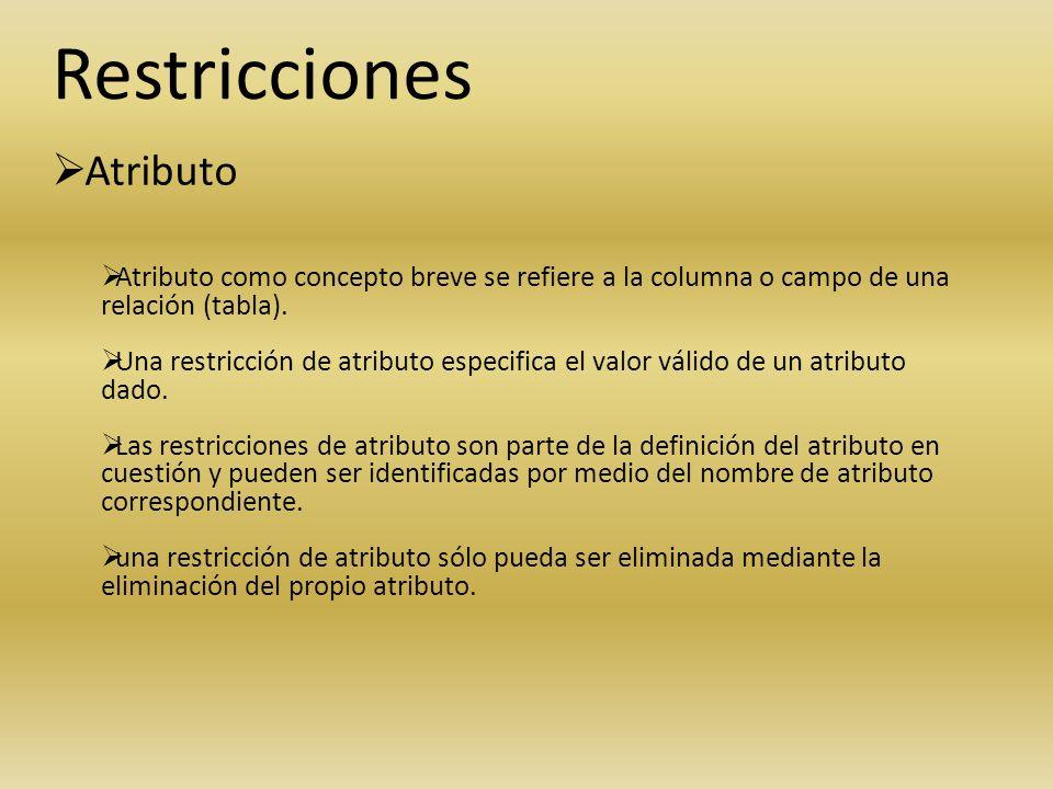 Restricciones Atributo Atributo como concepto breve se refiere a la columna o campo de una relación (tabla). Una restricción de atributo especifica el
