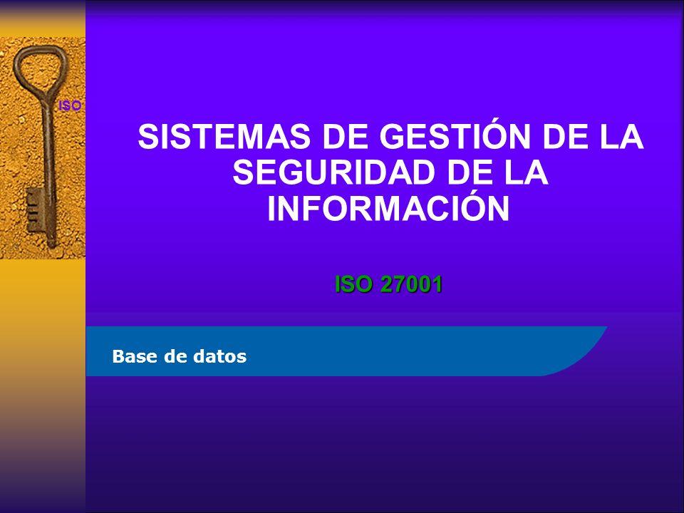 ISO 27001 SISTEMAS DE GESTIÓN DE LA SEGURIDAD DE LA INFORMACIÓN ISO 27001 Base de datos