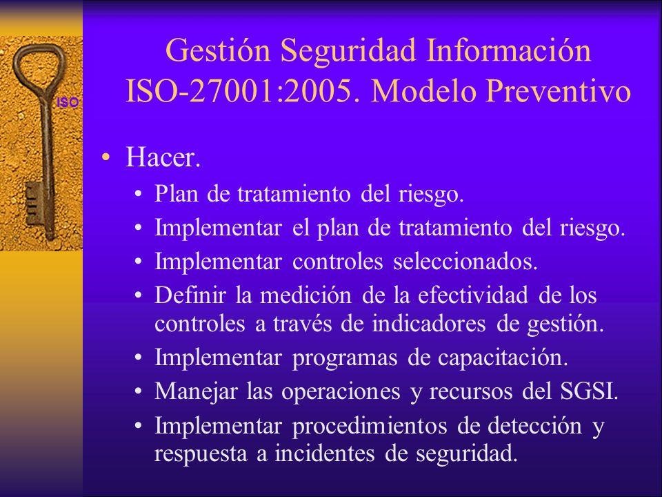 ISO 27001 Gestión Seguridad Información ISO-27001:2005. Modelo Preventivo Hacer. Plan de tratamiento del riesgo. Implementar el plan de tratamiento de