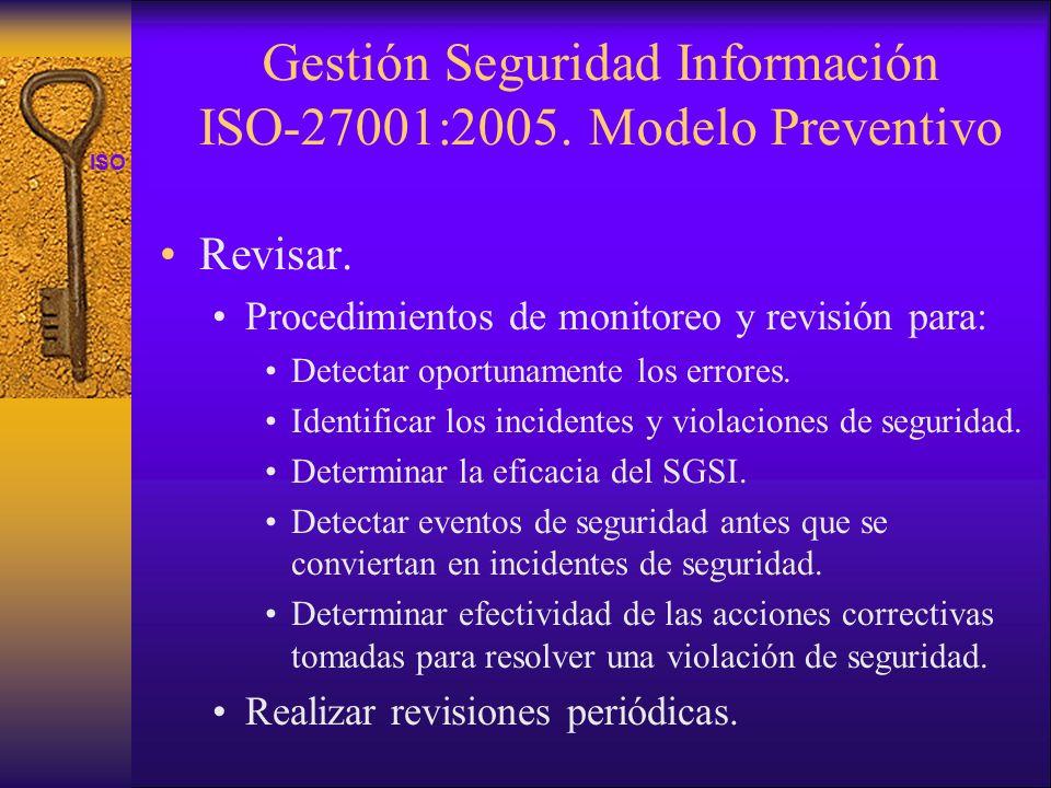 ISO 27001 Gestión Seguridad Información ISO-27001:2005. Modelo Preventivo Revisar. Procedimientos de monitoreo y revisión para: Detectar oportunamente