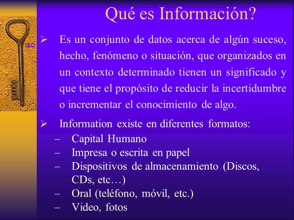 ISO 27001 Es un conjunto de datos acerca de algún suceso, hecho, fenómeno o situación, que organizados en un contexto determinado tienen un significad