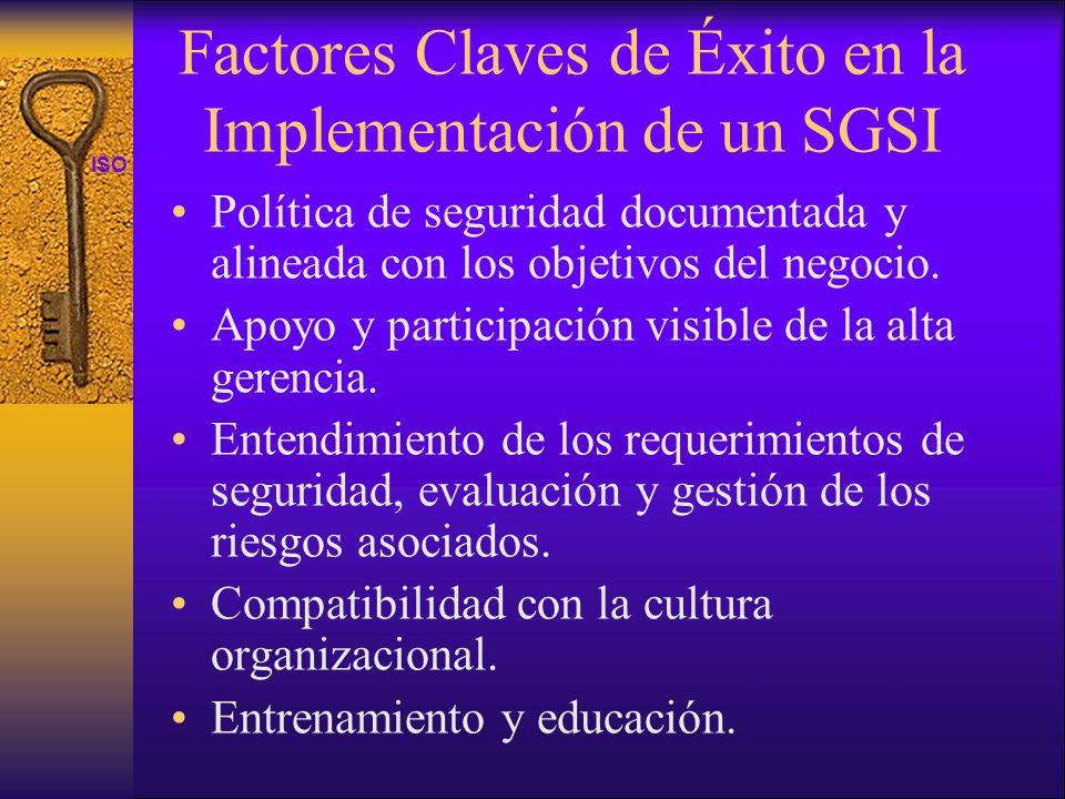 ISO 27001 Factores Claves de Éxito en la Implementación de un SGSI Política de seguridad documentada y alineada con los objetivos del negocio. Apoyo y