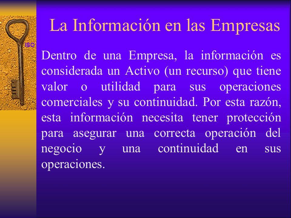 ISO 27001 La Información en las Empresas Dentro de una Empresa, la información es considerada un Activo (un recurso) que tiene valor o utilidad para s