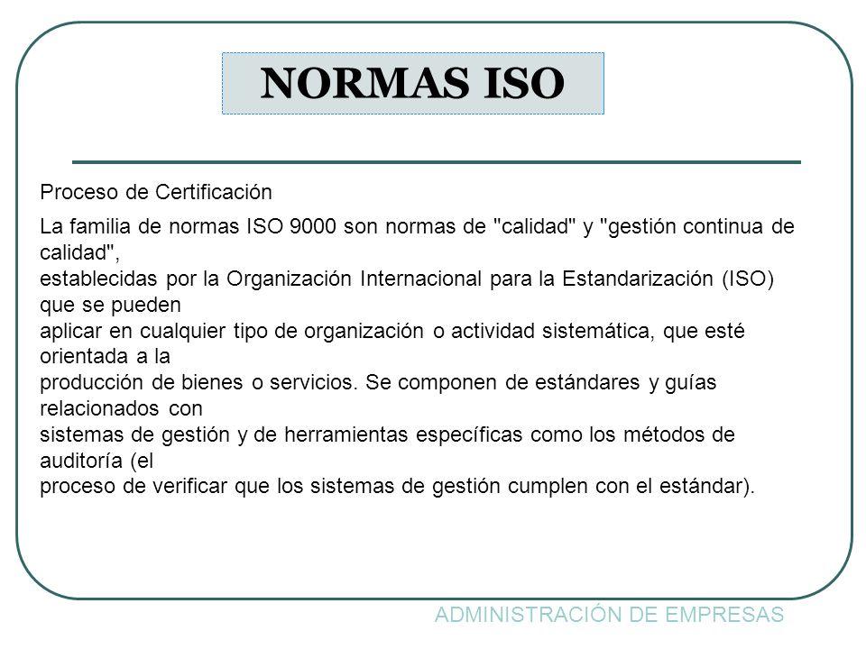 ADMINISTRACIÓN DE EMPRESAS NORMAS ISO Proceso de Certificación La familia de normas ISO 9000 son normas de