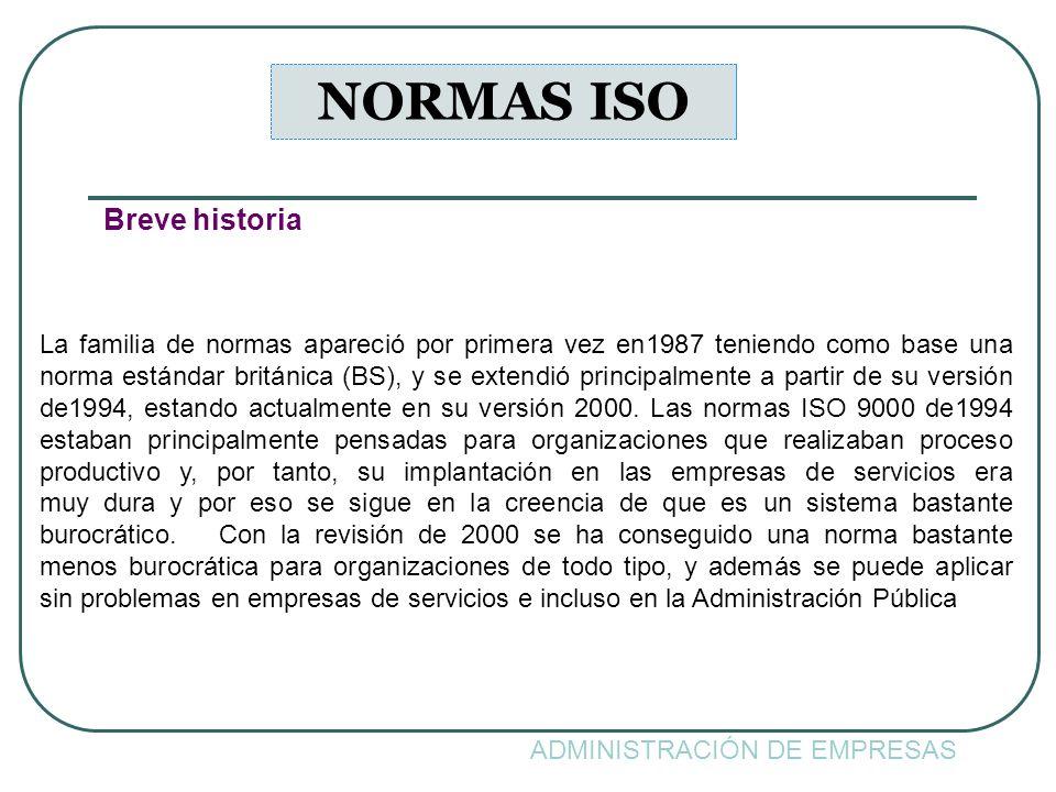 ADMINISTRACIÓN DE EMPRESAS NORMAS ISO Breve historia La familia de normas apareció por primera vez en1987 teniendo como base una norma estándar britán