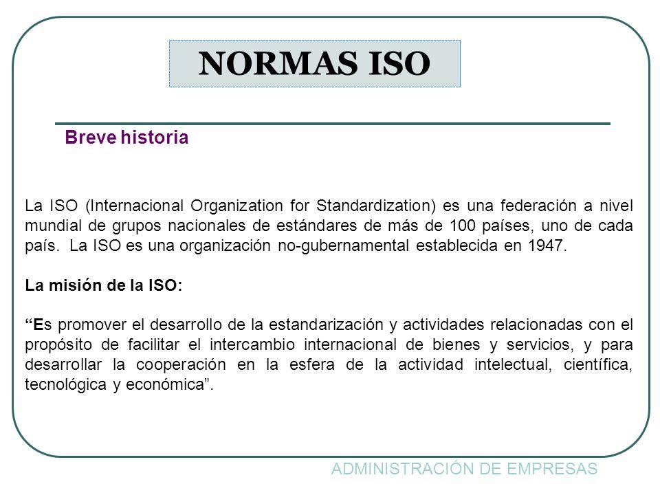 ADMINISTRACIÓN DE EMPRESAS NORMAS ISO Breve historia La ISO (Internacional Organization for Standardization) es una federación a nivel mundial de grup