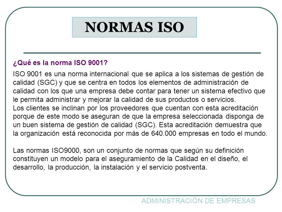 ADMINISTRACIÓN DE EMPRESAS NORMAS ISO ¿Qué es la norma ISO 9001? ISO 9001 es una norma internacional que se aplica a los sistemas de gestión de calida