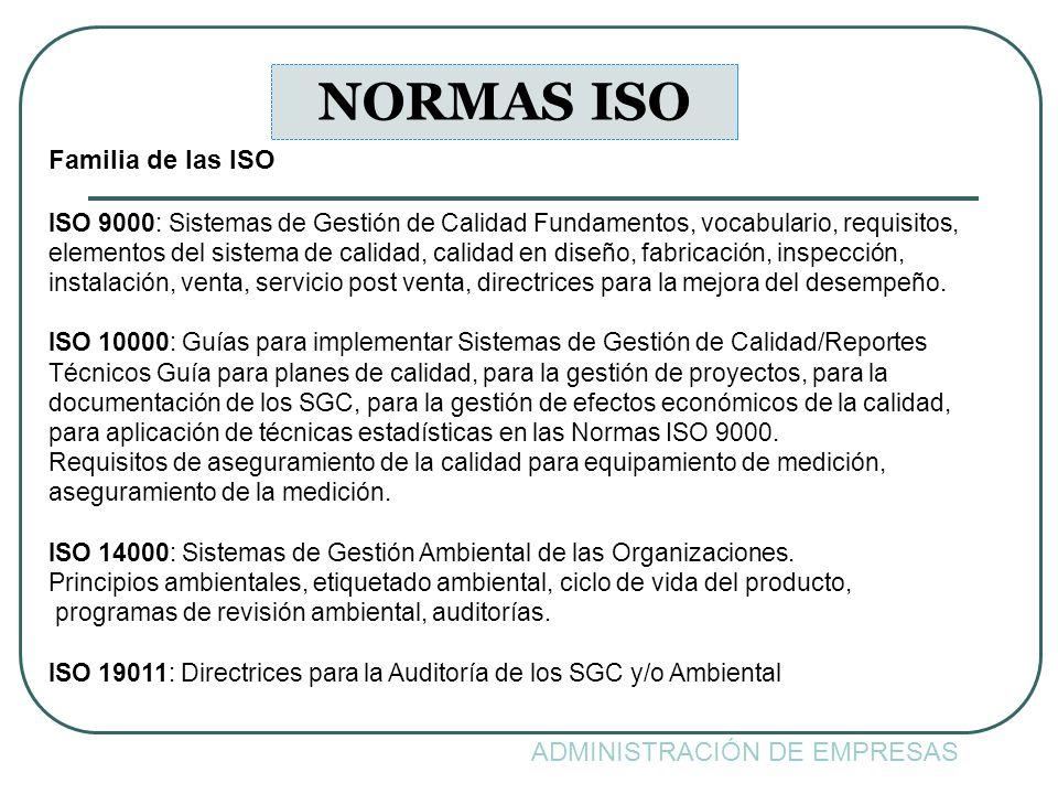 ADMINISTRACIÓN DE EMPRESAS NORMAS ISO Familia de las ISO ISO 9000: Sistemas de Gestión de Calidad Fundamentos, vocabulario, requisitos, elementos del