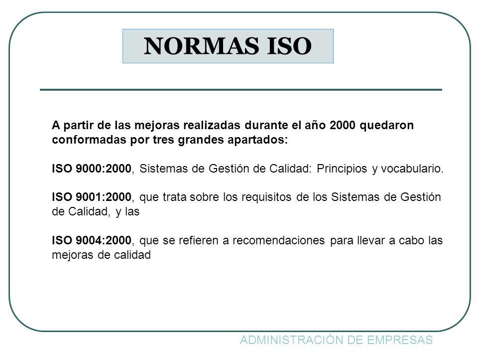 ADMINISTRACIÓN DE EMPRESAS NORMAS ISO A partir de las mejoras realizadas durante el año 2000 quedaron conformadas por tres grandes apartados: ISO 9000