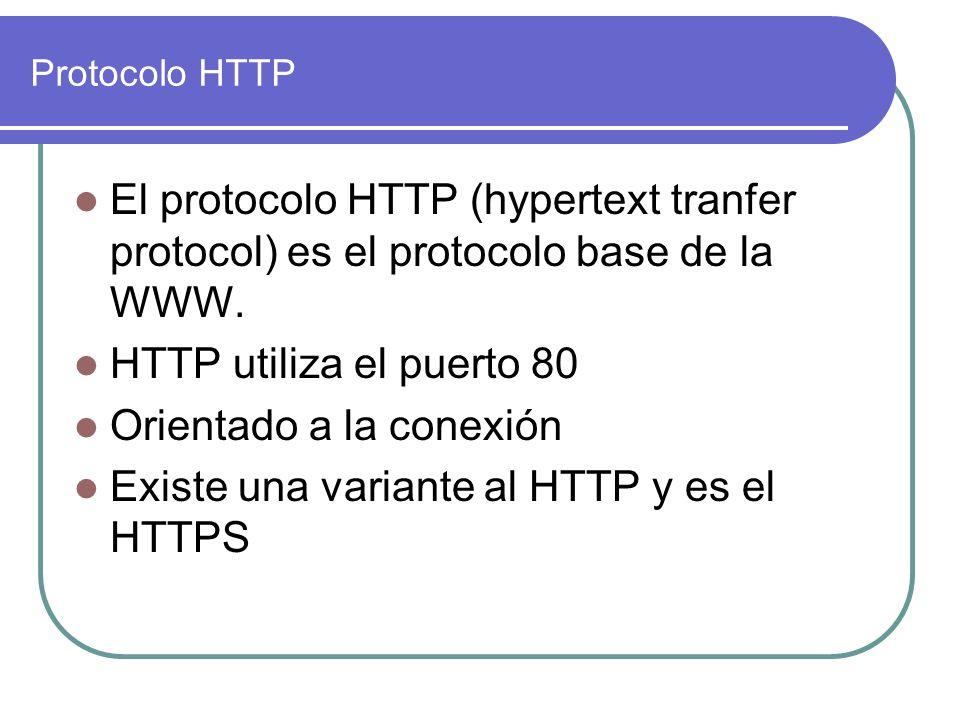 Protocolo HTTP El protocolo HTTP (hypertext tranfer protocol) es el protocolo base de la WWW. HTTP utiliza el puerto 80 Orientado a la conexión Existe