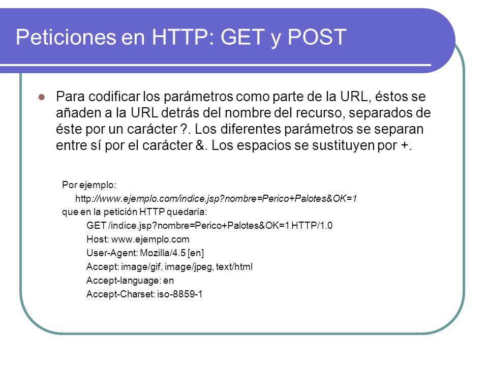 Peticiones en HTTP: GET y POST Para codificar los parámetros como parte de la URL, éstos se añaden a la URL detrás del nombre del recurso, separados d
