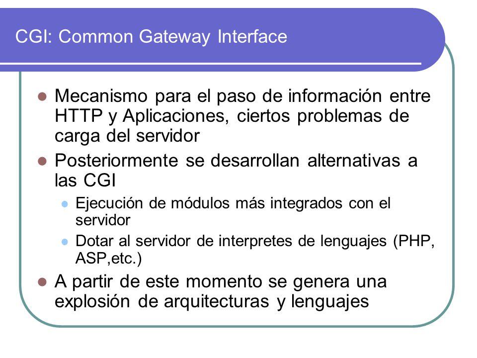 CGI: Common Gateway Interface Mecanismo para el paso de información entre HTTP y Aplicaciones, ciertos problemas de carga del servidor Posteriormente se desarrollan alternativas a las CGI Ejecución de módulos más integrados con el servidor Dotar al servidor de interpretes de lenguajes (PHP, ASP,etc.) A partir de este momento se genera una explosión de arquitecturas y lenguajes
