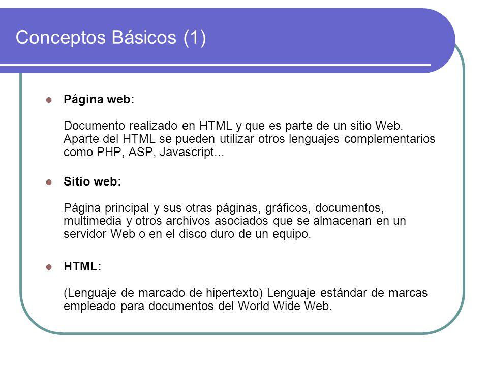Conceptos Básicos (1) Página web: Documento realizado en HTML y que es parte de un sitio Web. Aparte del HTML se pueden utilizar otros lenguajes compl