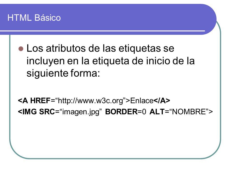 HTML Básico Los atributos de las etiquetas se incluyen en la etiqueta de inicio de la siguiente forma: Enlace